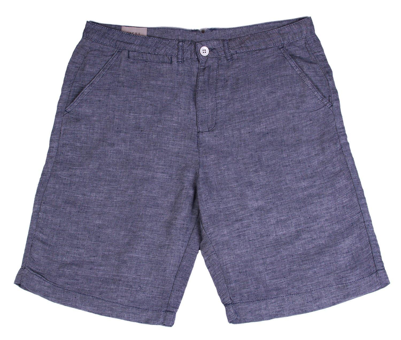 JACHS Men's Flat-Front Linen Shorts (34, Blue)