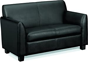 HON Circulate Tailored Two-Cushion Loveseat , Black SofThread Leather