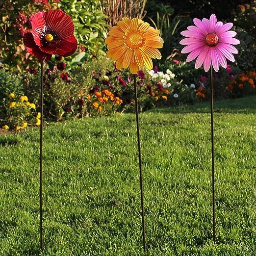 Fiesta Studios - Estacas para jardín (3 Unidades), diseño de Flores: Amazon.es: Jardín