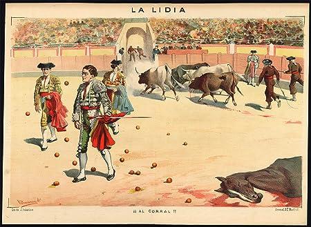 En la parte superior del diseño de - Las corridas de toros-tauromachia- torero-caballo-españa - PL. 30 de la Lidia-1884: Amazon.es: Hogar