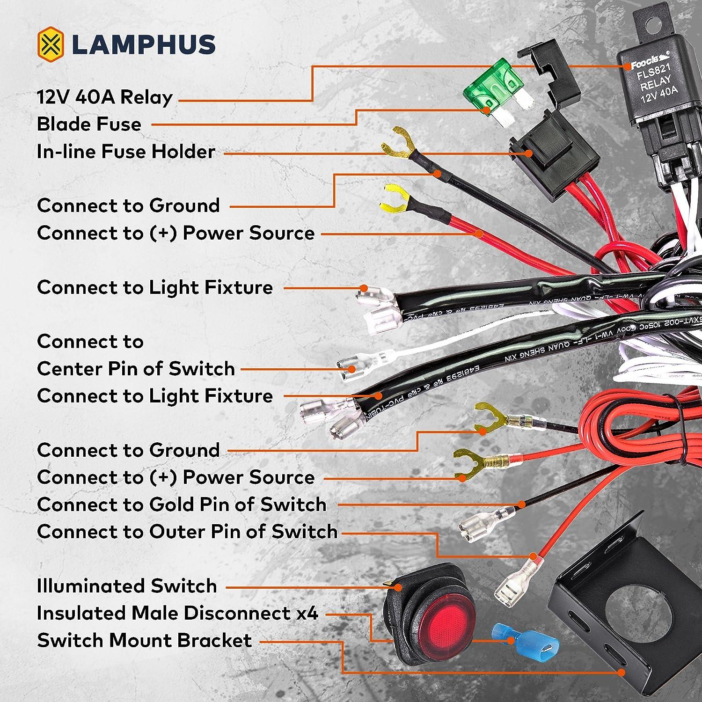 LAMPHUS CRUIZER Off Road ATV/Jeep LED Light Bar Wiring Harness Kit ...