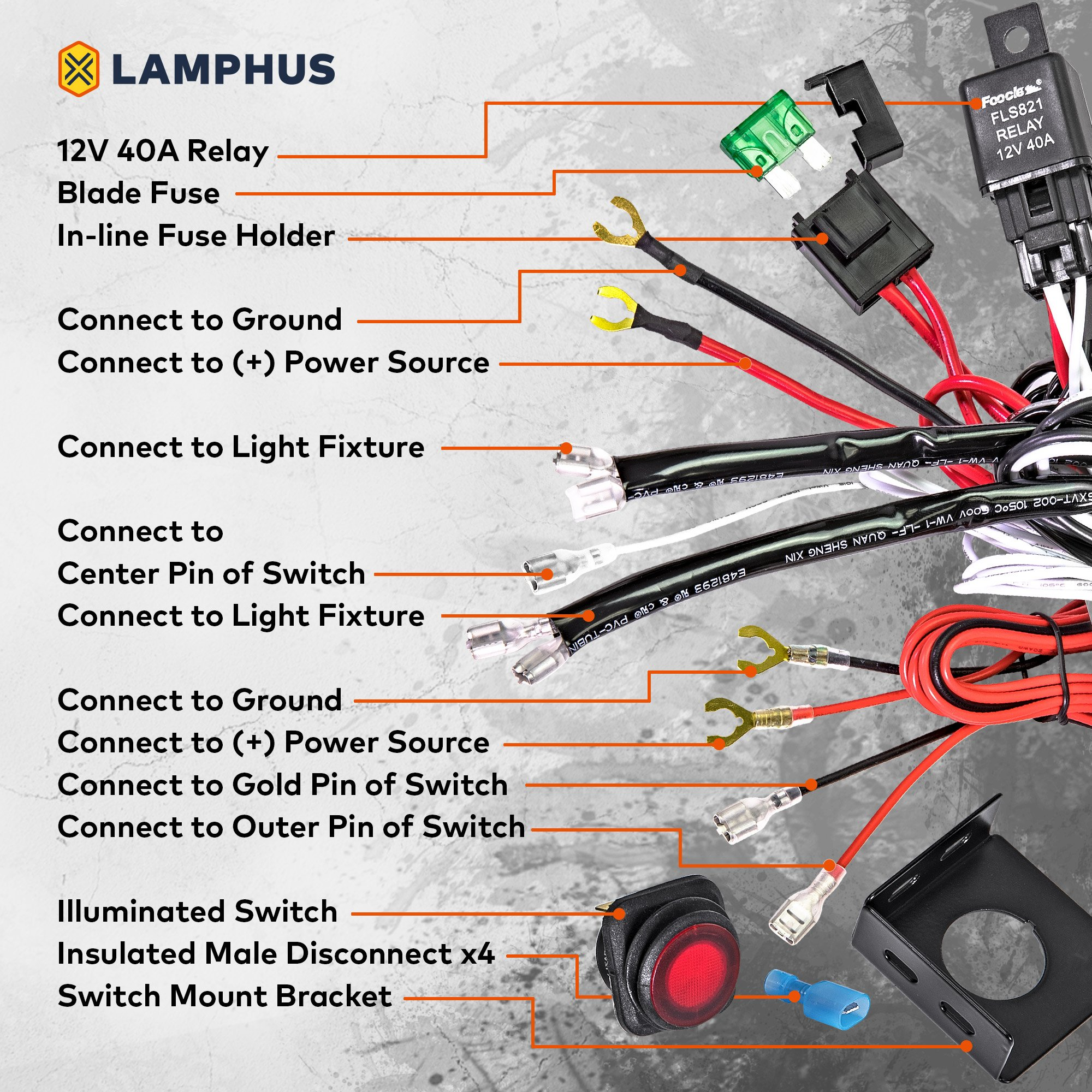 Lamphus 13 Off Road Atv Jeep Led Light Bar Wiring Harness Kit Combining A Waterproof Switch Mounting Bracket 30a Fuse 40a Relay Usa Warranty Orwh01