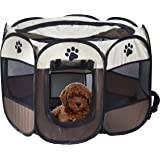 MiLuck Pet Portable Foldable Playpen, Exercise 8-Panel Kennel Mesh Shade Cover Indoor/outdoor Tent Fence For Dogs Cats