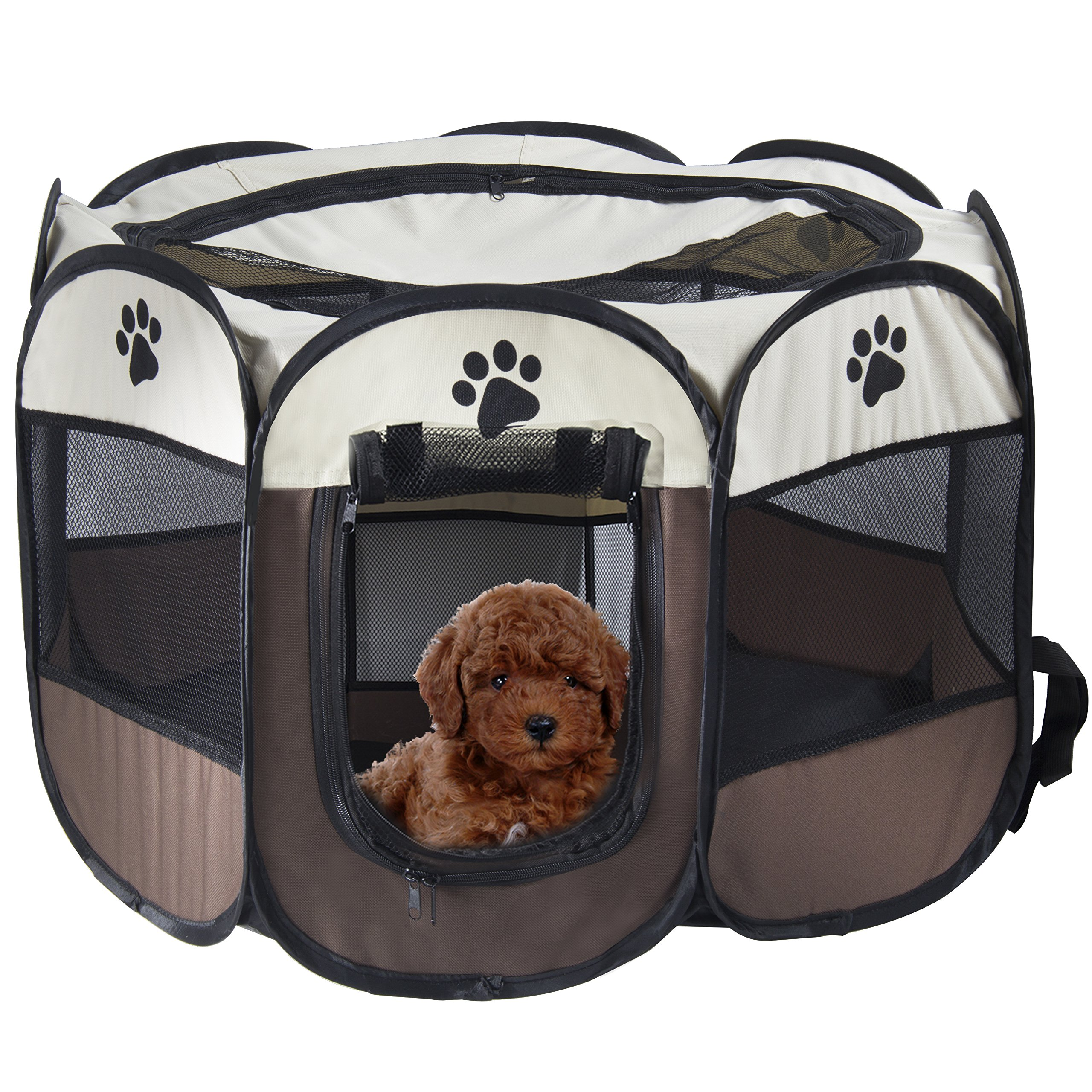 MiLuck Pet Portable Foldable Playpen, Exercise 8-Panel Kennel Mesh Shade Cover Indoor/outdoor Tent Fence For Dogs Cats(L/Brown)