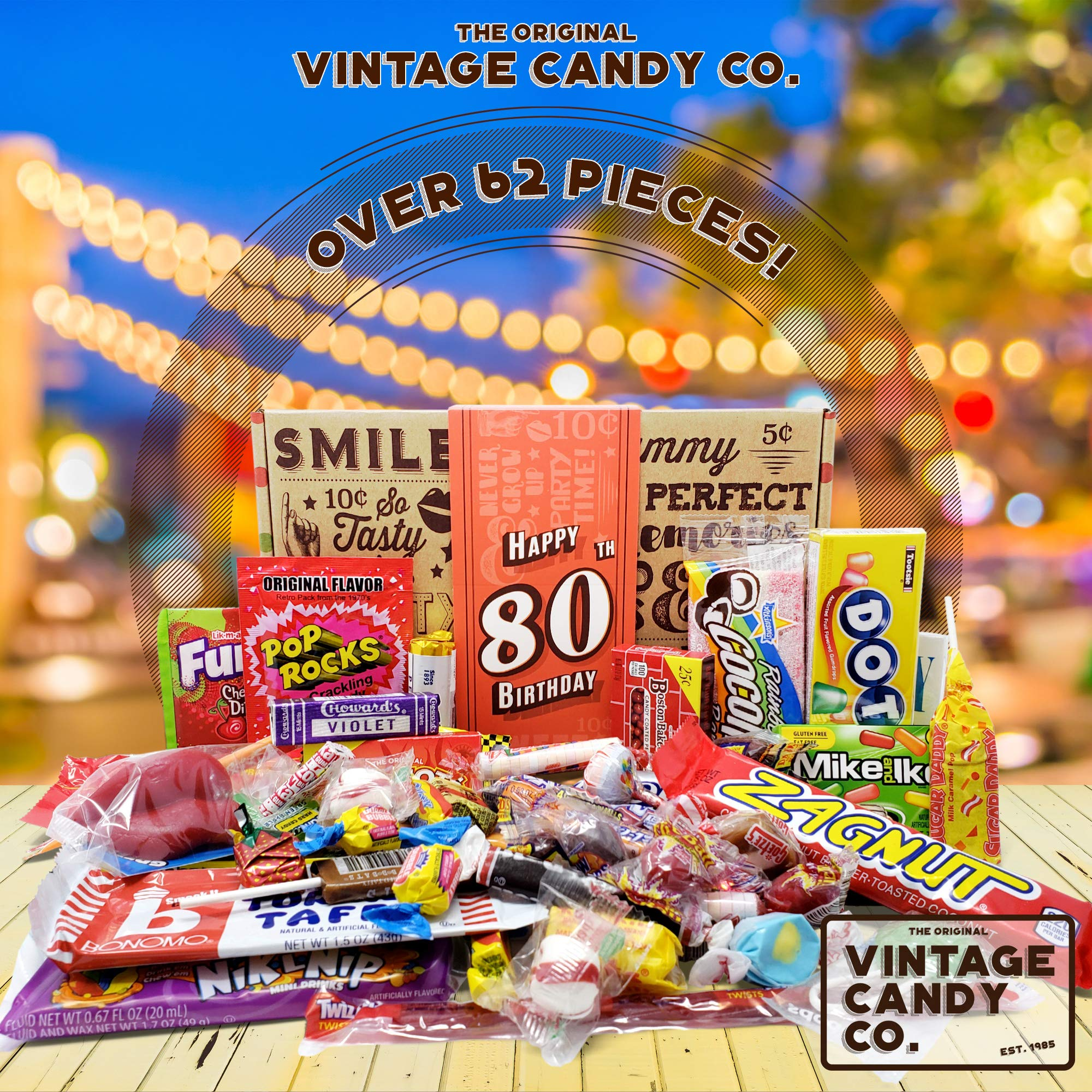 VINTAGE CANDY CO. 80TH BIRTHDAY RETRO CANDY GIFT BOX - 1939 Decade Nostalgic Childhood Candies - Fun Gag Gift Basket for Milestone EIGHTIETH Birthday - PERFECT For Man Or Woman Turning 80 Years Old by Vintage Candy Co. (Image #2)