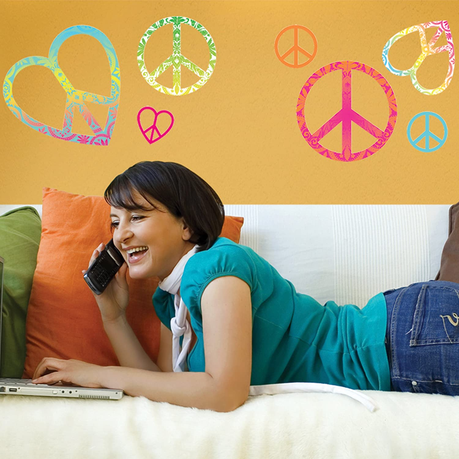 Amazon.com: DCWV Wall Art Peace Signs, Girl, Peel-Stick, Multi: Home ...