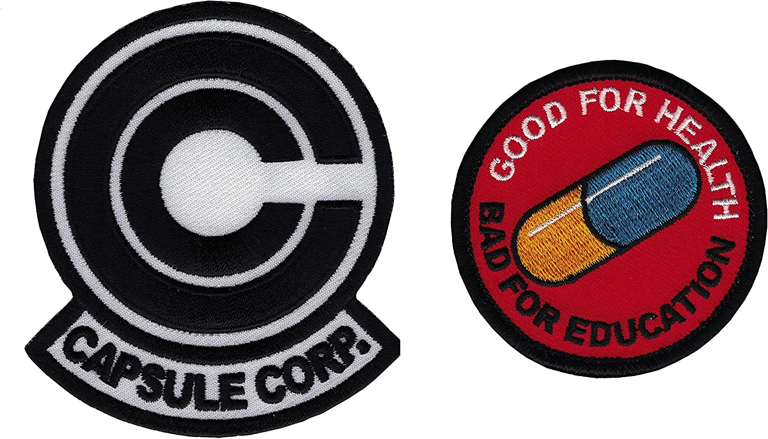 Amazon Com Set2 Bw Io Anime Dragonball Z Capsule Corp Akira Pill Emo Embroidered Cosplay Patch Everything Else