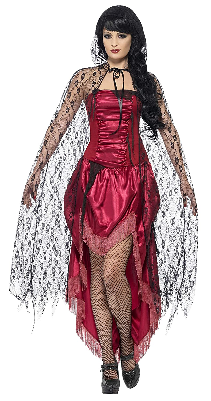 Smiffys Damen Langer Gothic Spitzen Umhang mit Kapuze, One Size, Schwarz, 29657 Smiffy' s