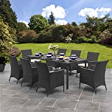 Rattan Dining Furniture Set  8 Seater  Dining Table + 8 Chairs   Rattan Furniture (Black)