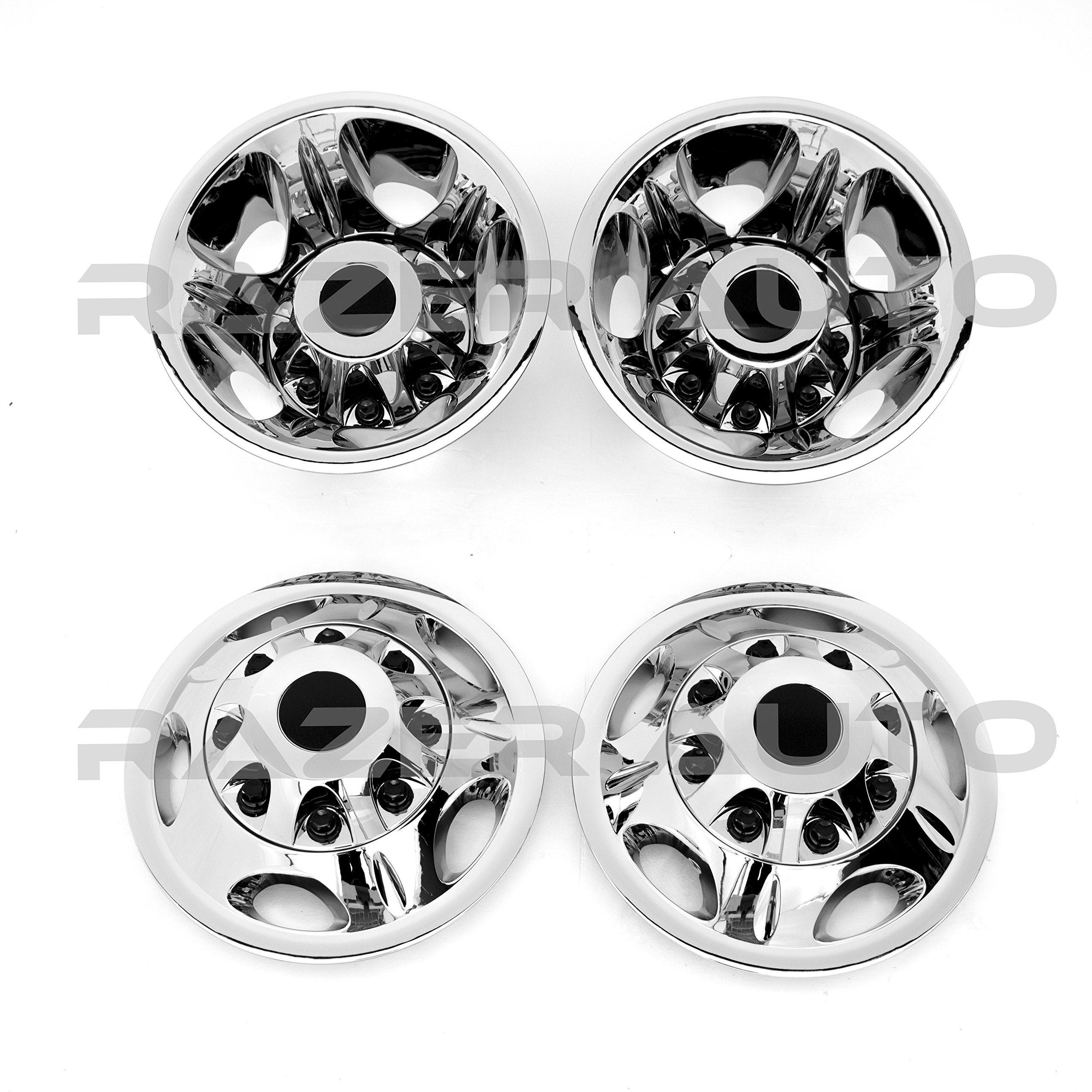 11-16 Chevy Silverado 3500 Dually & 11-16 GMC Sierra 3500 Dually ONLY Chrome 17'' Wheel Simulator Liner + Center Caps Cover 8pcs Set (Chrome)