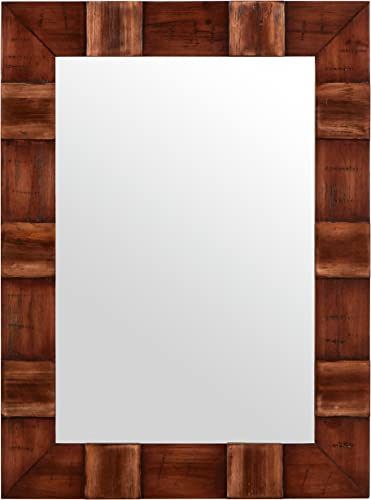 Amazon Brand Stone Beam Rustic Wood Frame Hanging Wall Mirror, 31.5 Inch Height, Brown