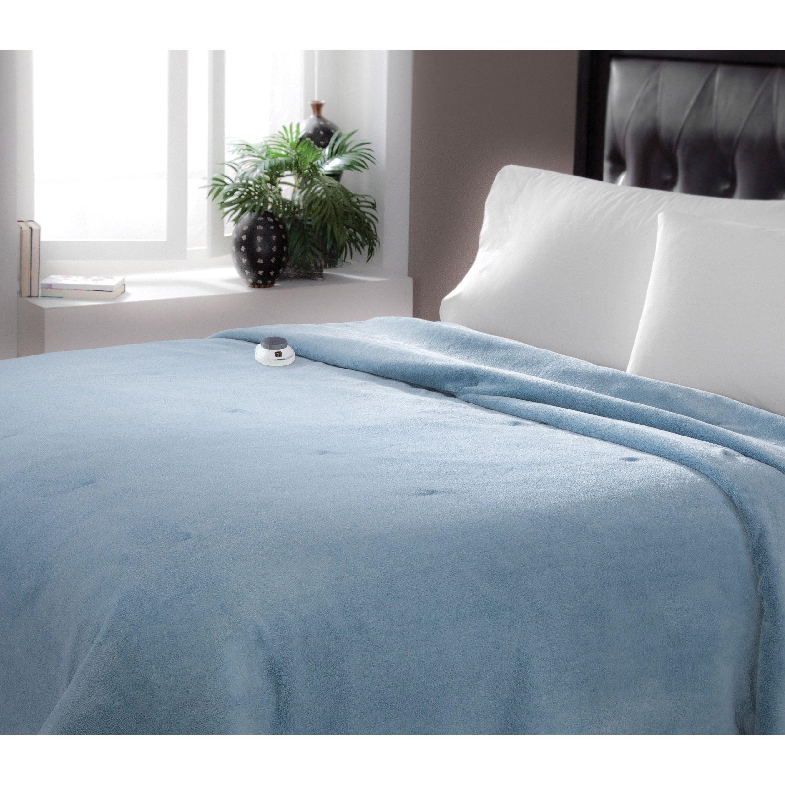 Serta Brand Soft Luxe Plush Electric Warming Blanket Brown Full