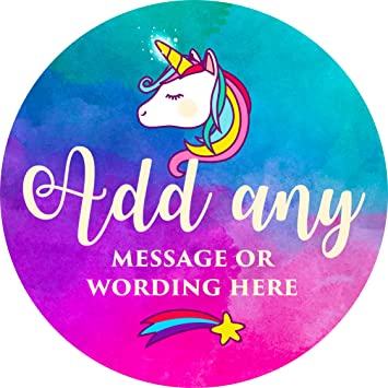 Cute unicorn sticker labels 6 stickers 9 5cm each personalised seals ideal for