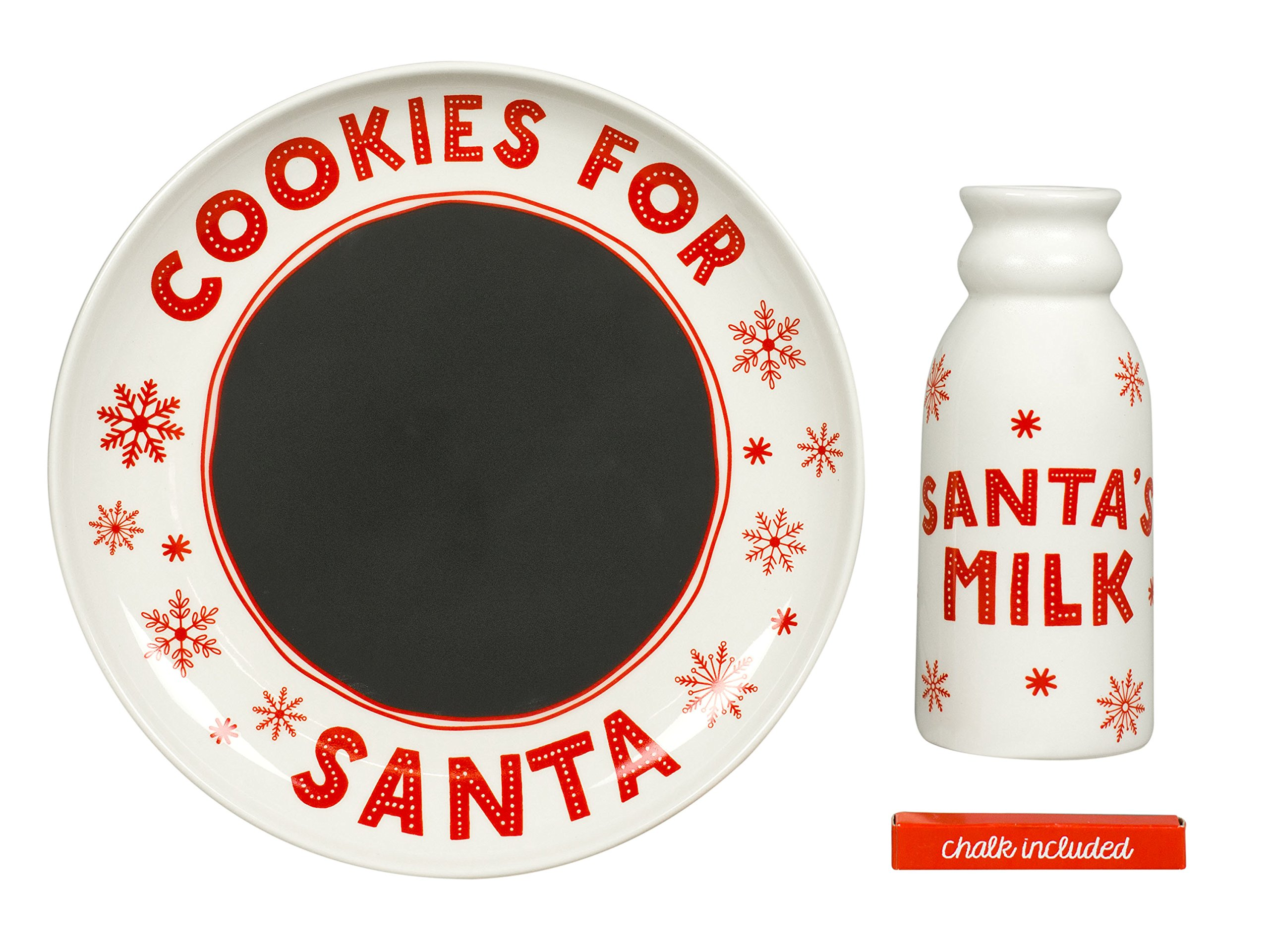 Santa's Christmas Cookie Set, Chalkboard Message to Santa Plate and Milk Mug Holiday Gift Set by Tiny Ideas