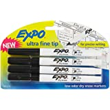 Expo Low-Odor Dry Erase Markers, Ultra Fine Tip, Black, 4-Count