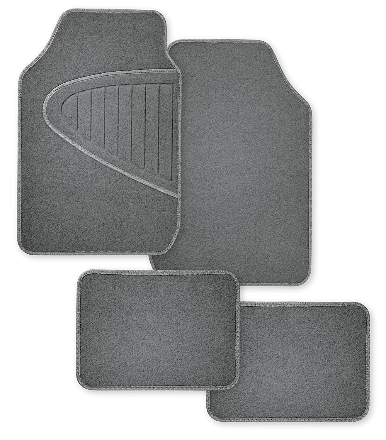 Kraco CN140475 Tan ECO-Deluxe Recycled Universal Fit Gray Mat 4pcs Set with Embossed Protective Carpet Driver Side Heel Pad