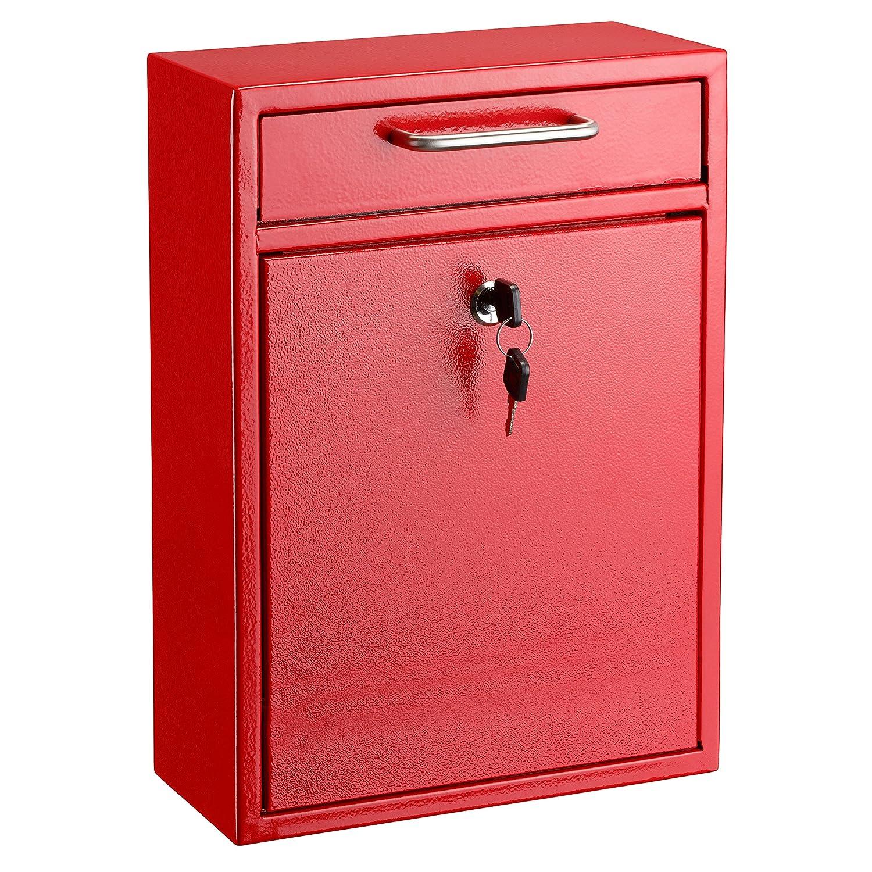 AdirOffice ロッキング ドロップボックス – ウォールマウント メールボックス L レッド 631-04-RED B01MZDZ8MR L|レッド