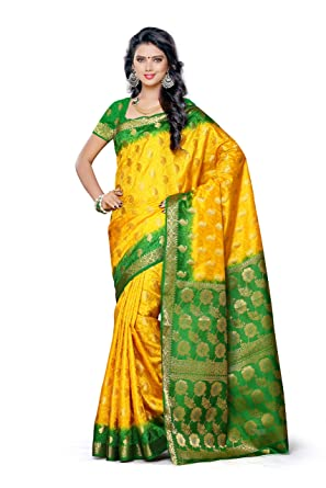 149430a45cb Image Unavailable. Image not available for. Colour  Mimosa Women s  Traditional Artificial Silk Saree Kanjivaram Style with Blouse ...