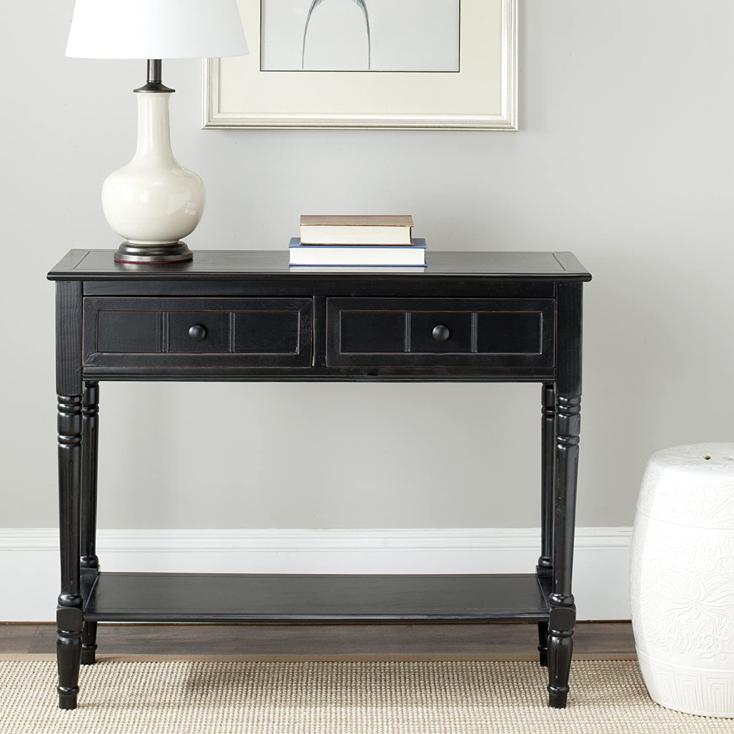 Amazon safavieh american home collection console table amazon safavieh american home collection console table distressed black kitchen dining geotapseo Gallery
