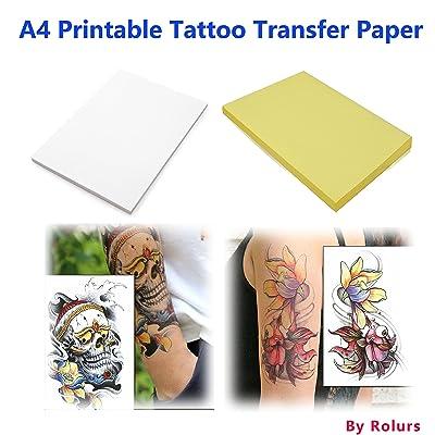 10 hojas de bricolaje A4 papel de transferencia de tatuajes temporales personalizada imprimibles para impresoras de inyección de tinta: Oficina y papelería