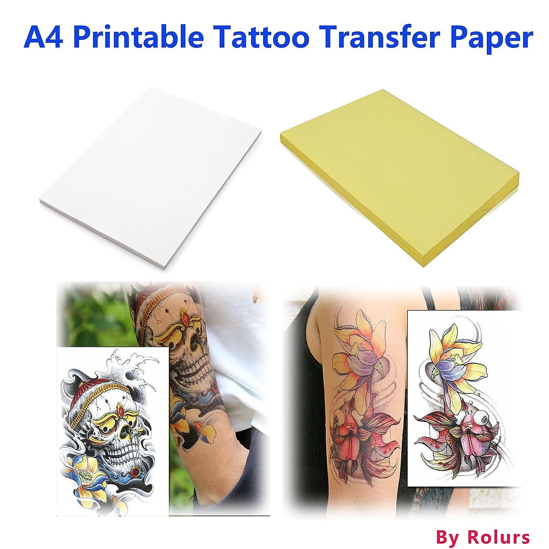 10 fogli DIY A4 carta transfer tatuaggio temporaneo stampabile su misura per stampante a getto d' inchiostro Rolurs