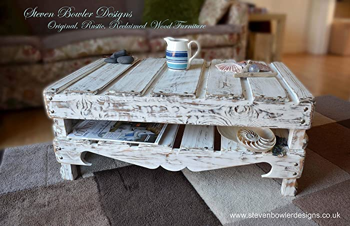 Bespoke White Coastal Cottage Coffee Table In A Driftwood