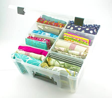 Merveilleux KABOODLE DEEP, HINGED LID STORAGE BOX, REMOVABLE FULL HEIGHT DIVIDERS,  TRANSLUCENT