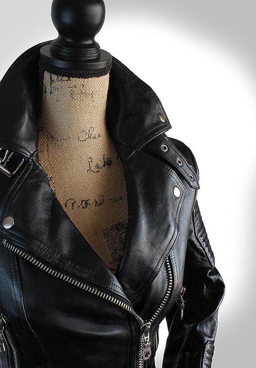 Future Of Retro Scarlett Noir Black Form Fit Brit Loseley Leather Biker Jacket at Amazon Womens Coats Shop