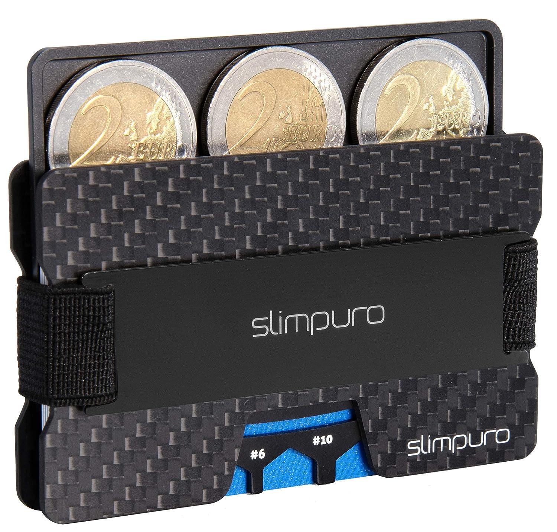 SLIMPURO Tarjetero RFID con Portamonedas Tecnología ATTO – Tarjetero Minimalista Carbono con Bandeja de Aluminio para Monedas – Protección RFID / NFC ...
