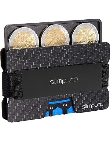 SLIMPURO Tarjetero RFID con Portamonedas Tecnología ATTO – Tarjetero Minimalista Carbono con Bandeja de Aluminio para