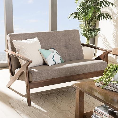 "Baxton Studio Bianca Mid-Century Modern Walnut Wood Light Grey Fabric Tufted 2-Seater Loveseat Mid-Century/Light Grey/Walnut Brown/Fabric Polyester 100 ""/Rubber Wood/"
