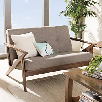 Sensational Baxton Studio 2 Seater Tufted Loveseat In Walnut And Light Gray Gamerscity Chair Design For Home Gamerscityorg
