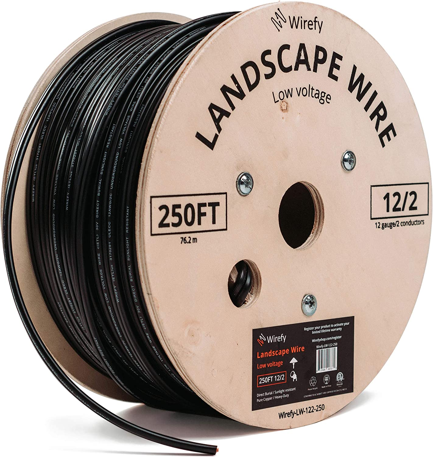 Wirefy 12/2 Low Voltage Landscape Lighting Wire - Outdoor Direct Burial - 12-Gauge 2-Conductor 250 Feet