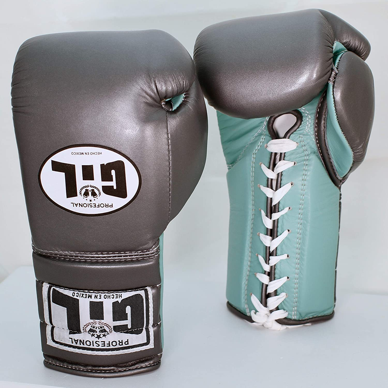 Gil Professionalトレーニング/Sparring Boxing Gloves B07MQYXY69 Grey/Sea Green 14 oz