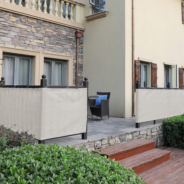 Cordon d/'Attache GBC93GY 3 x 0,9 m Auvent en Tissu HDPE sans Vis Paravent Gris fum/é SONGMICS Brise-Vue Couverture perm/éable pour Balcon L x l