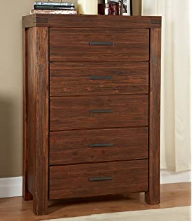 modus furniture meadow five drawer solid wood chest brick brown brown solid wood furniture