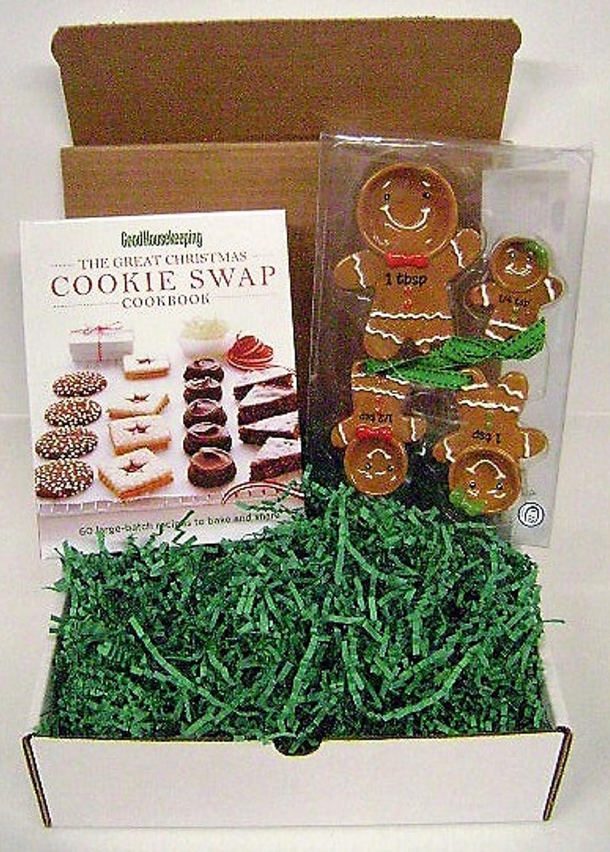 Gingerbread Measuring Spoon Set with GoodHousekeeping Cookie Cookbook Gift Set Various