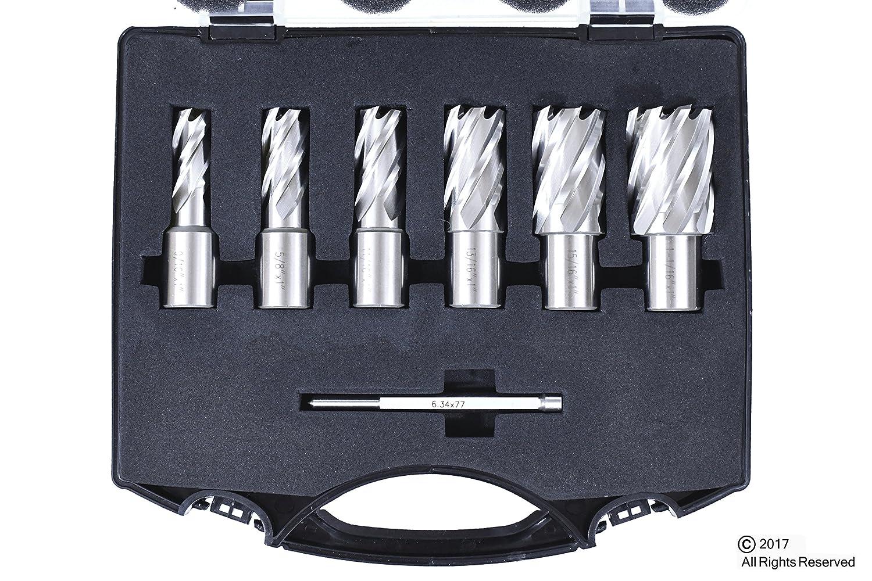 """6pc Set Annular Cutter 3//4/"""" Weldon Shank 7//16 1//2 9//16 11//16 Magnetic Drill Bit"""