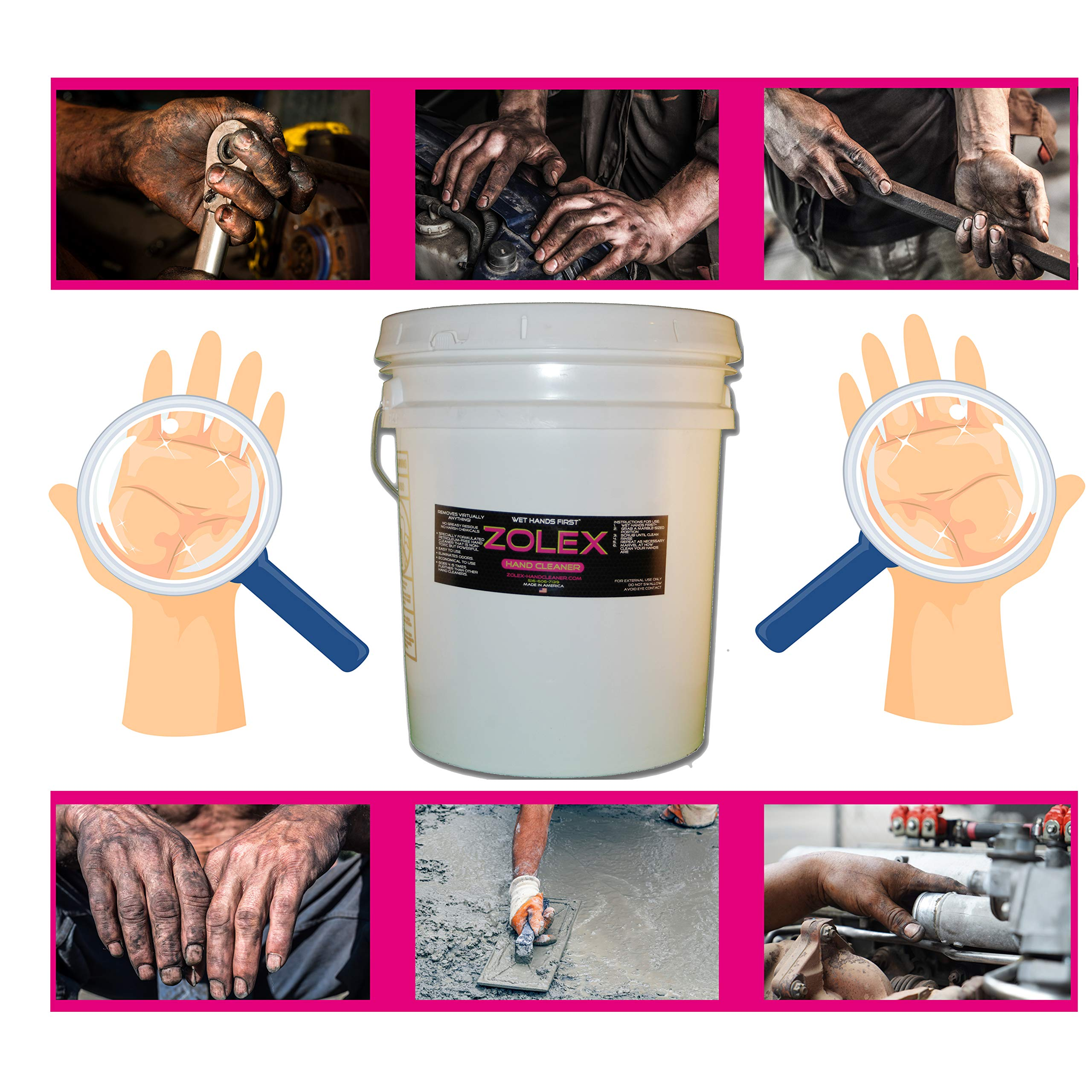 Zolex Water Activated Hand Cleaner for Working Hands| Stain Remover for Heavy Duty Workers | Grease Remover for Auto Mechanics - Non-Toxic Petroleum Free | Commercial-Sized Pail (25 lb) by Zolex (Image #2)