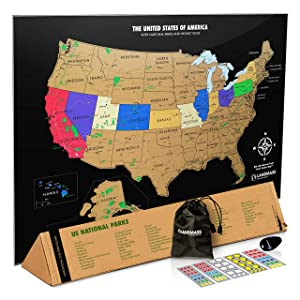 Landmass Scratch Off Map of The United States - Black Scratch Off USA Map Poster - Travel Map - US States - State Capitals - National Parks - 17 x 24 inches