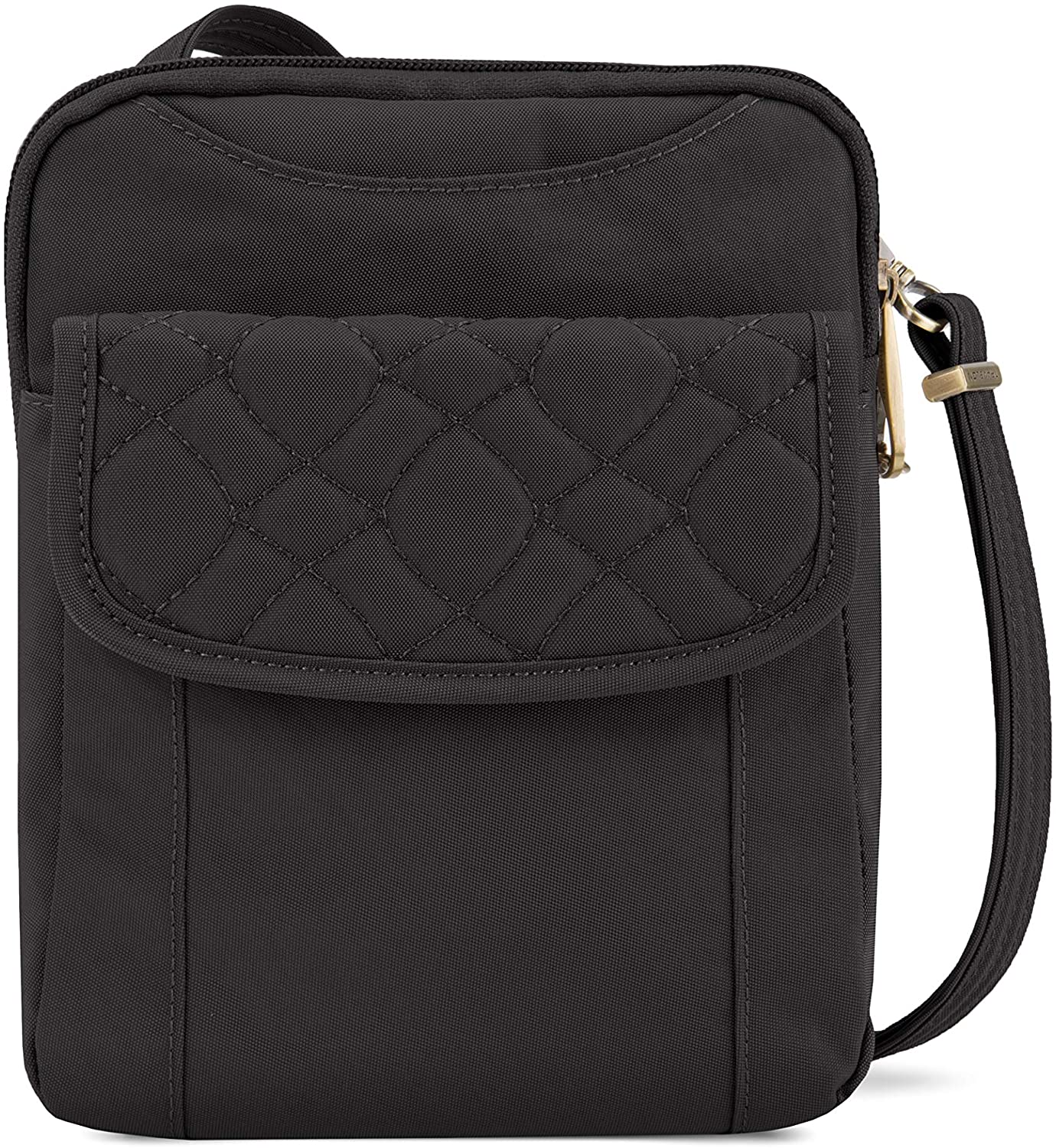 Travelon Anti-Theft Signature Quilted Slim Pouch, Black, One Size