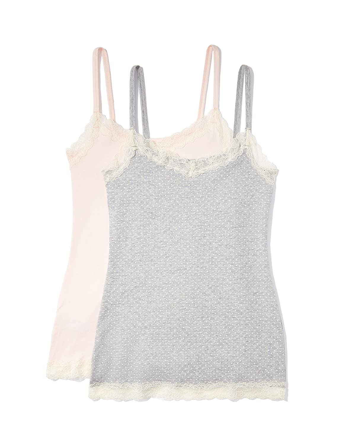 Iris /& Lilly Womens Body Natural Lace Trim Vest X-Large Soft Pink//Grey Pack of 2 Multicoloured