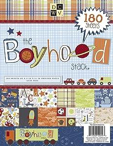 DCWV Cardstock Paper Boyhood Stack 8.5X11 180 Sheets Acid Free, Multicolor