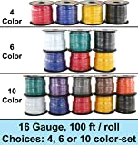 16 Gauge Ga Primary Wire Assortment. Choice of 4, 6 or 10 Rolls Bundle, 100 Feet per Roll. Copper Clad Aluminum Cable Great for Audio Speaker Amplifier Automotive Trailer Wiring. 10 Color Selections