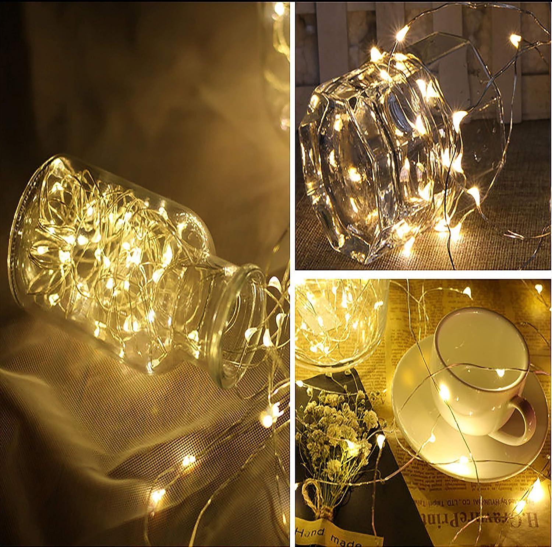LED luces de hadas 20 LEDs Luces de alambre con batería de botón Decoración de la tabla de la botella de la boda de la fiesta de Navidad de las luces ...