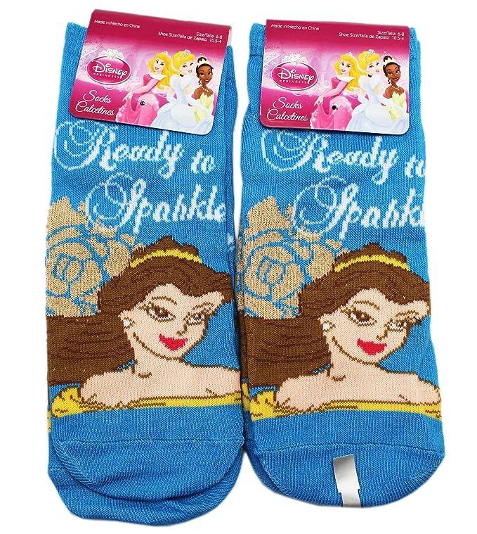 Amazon.com: Disney Princess Belle Ready To Sparkle Blue Kids Socks (Size 6-8, 2 Pairs): Clothing