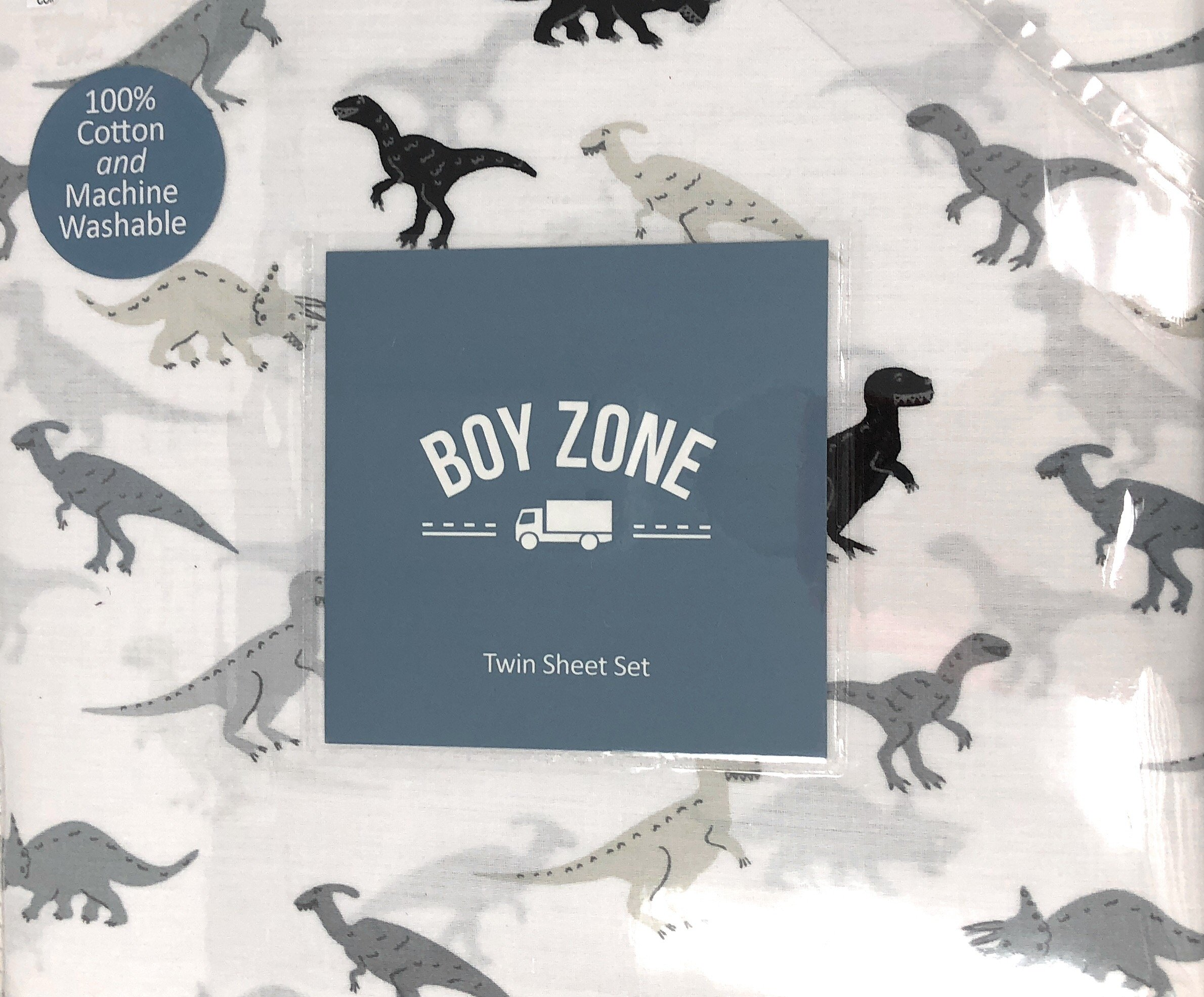 Boy Zone Dinosaurs at Large on White TWIN Sheet Set | 100% Cotton | Gray Scale/Black Dinos | Different types of dinosaurs