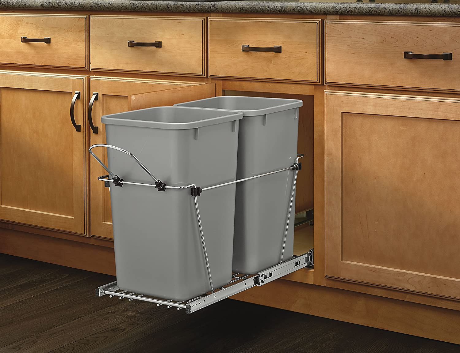 amazoncom revashelf rv15kd17c s double 27 qt pullout silver and chrome waste container home u0026 kitchen