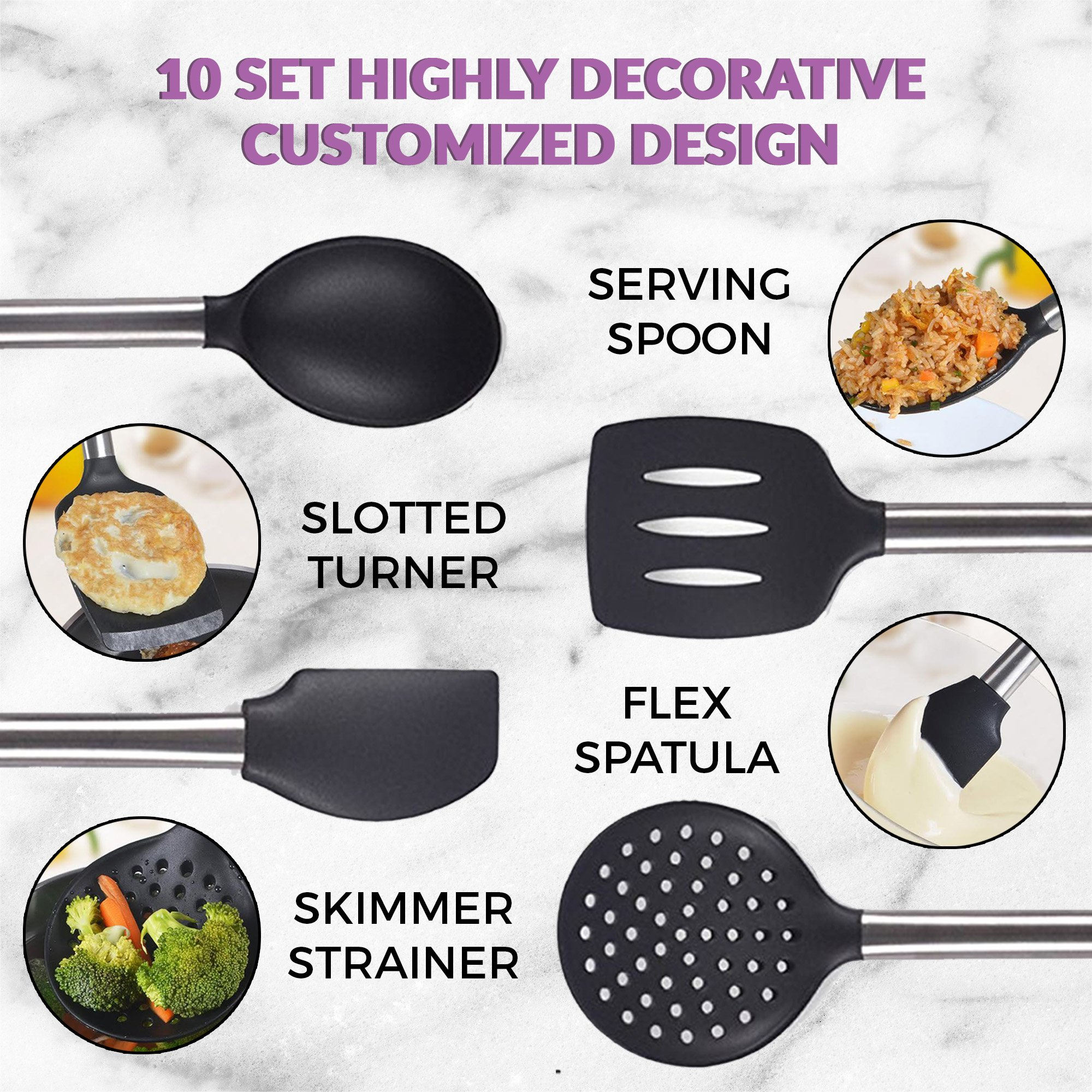 Kitchen Utensil 8 Set - Black Cooking Kit Manufactured with Metal Heavy Duty Stainless Steel and No Plastic BPA Free High Heat Resistant Silicone - Dishwasher Safe Utensils with Waterproof Handles by Black Belt Kitchen (Image #8)
