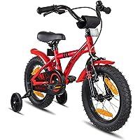 Prometheus vélo Enfant 14 Pouces pour garçons et Fille en Rouge et Noir à partir de 4 Ans avec stabilisateurs et rétropédalage - BMX 14 Pouces modèle 2019